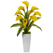 Callas with Tropical Leaves in Glossy Planter