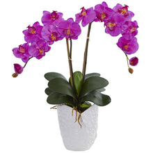 Double Phalaenopsis Orchid Artificial Arrangement in White Vase
