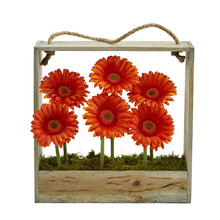 Gerber Daisy Garden Artificial Arrangement in Hanging Frame