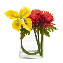 12'' Calla Lily and Artichoke in Rectangular Glass Vase Artificial Arrangement