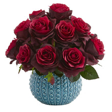 11.5'' Rose Artificial Arrangement in Blue Ceramic Vase