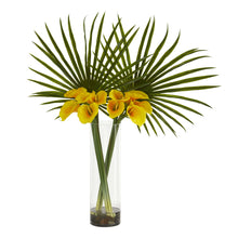 Fan Palm and Calla Lily Artificial Arrangement