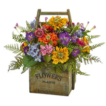 Mixed Floral Artificial Arrangement in Wood Basket