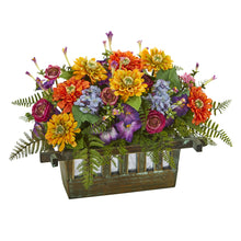 Mixed Floral Artificial Arrangement in Rectangular Wood Planter