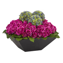 Roses and Ball Flowers Artificial Arrangement in Black Vase
