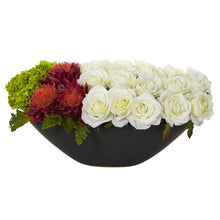 Rose, Tropical Flower and Hydrangea Artificial Arrangement in Black Vase