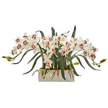Cymbidium Artificial Arrangement in White Vase