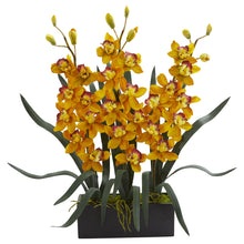 Cymbidium Orchid Artificial Arrangement in Black Vase