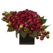 Hydrangea Artificial Arrangement in Black Vase