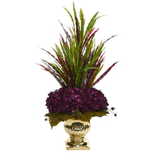 Grass & Hydrangea Artificial Arrangement in Gold Urn