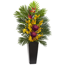 Tropical Floral & Orchid Artificial Arrangement in Black Vase
