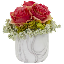 Rose and Hydrangea Artificial Arrangement in Marble Finished Vase