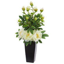 Peony Artificial Arrangement in Black Vase