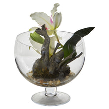 Mini Orchid Cattleya Artificial Arrangement in Pedestal Vase