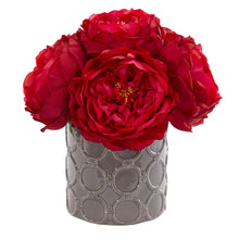 Large Rose Artificial Arrangement in Gray Vase