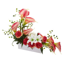 Mixed Lily and Rose Artificial Arrangement