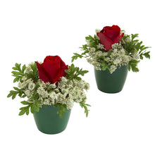 Elegant Rose Artificial Arrangement in Green Planter (Set of 2)