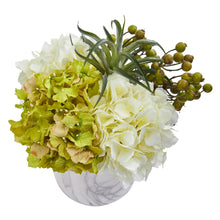Hydrangea and Berries Artificial Arrangement in Marble Finished Vase