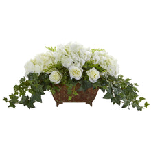 Hydrangea & Roses Artificial Arrangement in Metal Planter