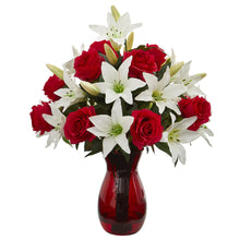 Roses & Lilies Artificial Arrangement in Red Vase
