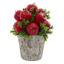 Apples and Boxwood Artificial Arrangement Weather Planter