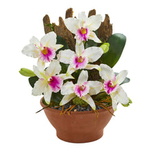 Cattleya Orchid Artificial Arrangement in Clay Vase