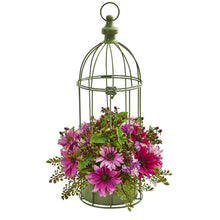 Daisy Artificial Arrangement in Decorative Bird Cage