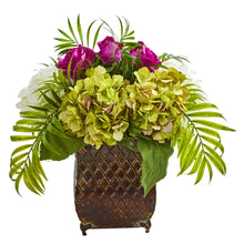 Roses and Hydrangea Artificial Arrangement in Metal Planter