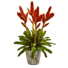 Tropical Bromeliad Artificial Arrangement in Weathered Planter