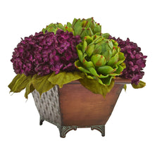 Hydrangea & Artichokes Artificial Arrangement in Metal Planter