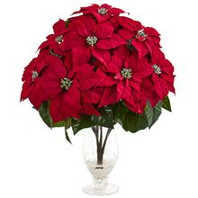 Poinsettia Artificial Arrangement in Glass Vase