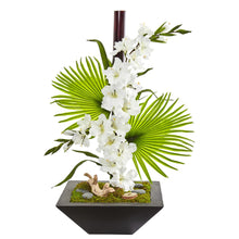 Gladiolas and Fan Palm Artificial Arrangement in Black Vase