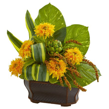 Sunflowers Artificial Arrangement in Black Planter