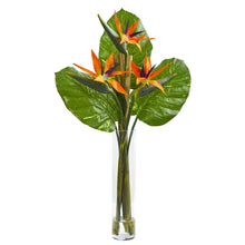 Bird of Paradise Artificial Arrangement in Cylinder Vase