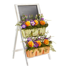 "31"" Roses & Morning Glory Artificial Arrangement in Farmhouse Stand with Chalkboard"