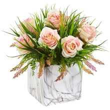 Roses & Grass Artificial Arrangement in Marble Finished Vase