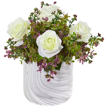 "13"" Roses & Eucalyptus Artificial Arrangement in Marble Finished Vase"