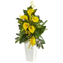 "39"" Calla Lily, Forsythia and Mixed Greens Artificial Arrangement"