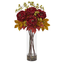 "36"" Peony and Berries Artificial Arrangement in Large Cylinder Vase"