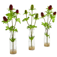 Thistle Artificial Arrangement in Bud Vase (Set of 3)