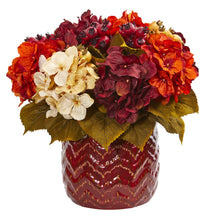 Hydrangea Berry Artificial Arrangement in Red Vase