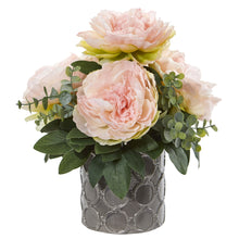 "13"" Peony and Eucalyptus Artificial Arrangement"