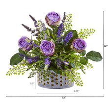Rose and Lavender Artificial Arrangement in Designer Vase