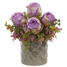 "11"" Roses and Eucalyptus Artificial Arrangement in Designer Vase"