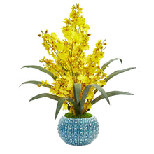Dancing Lady Orchid Artificial Arrangement in Blue Vase