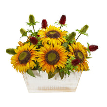 Sunflower and Thistle Artificial Arrangement in White Wash Planter