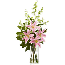 Lily and Dancing Lady Orchid Artificial Arrangement
