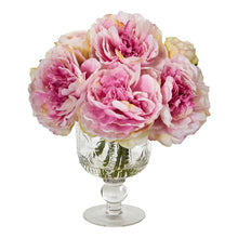 Peony Artificial Arrangement in Royal Glass Urn