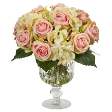 Rose and Hydrangea Artificial Arrangement in Royal Glass Urn