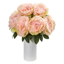 Peony Artificial Arrangement in White Vase